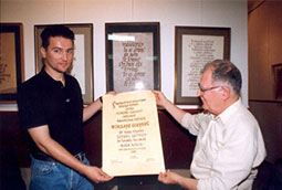 Zoran Bognar i Zoran Gluščević, na uručenju nagrade 'Isidora Sekulić',Beograd, 2000.